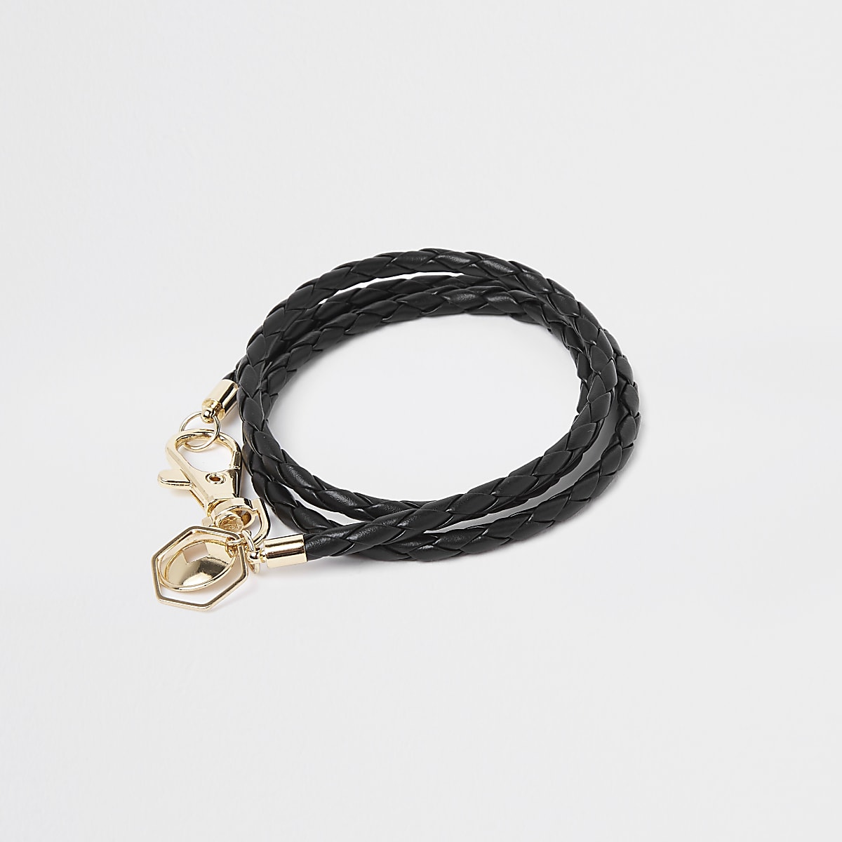 Black woven leather bracelet