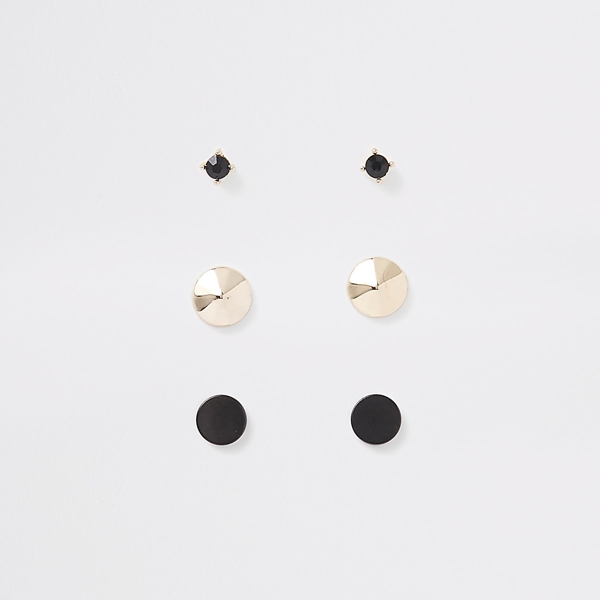Black gold tone plug earrings multipack
