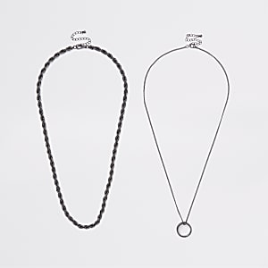 Multipack zwarte kettingen met ring