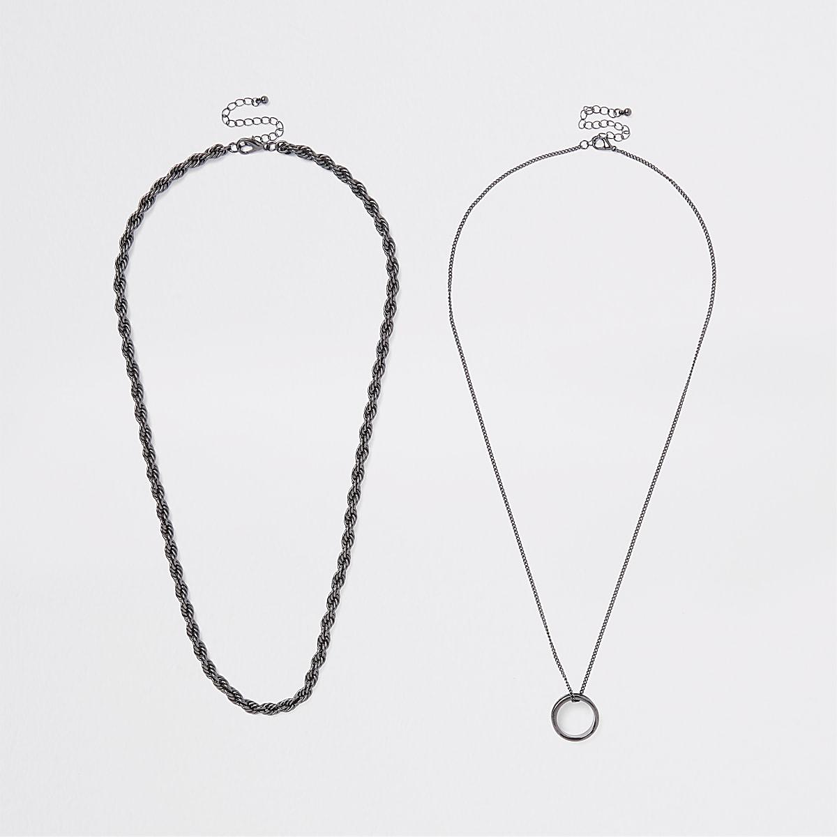 Lot de colliers à pendentif anneau noir