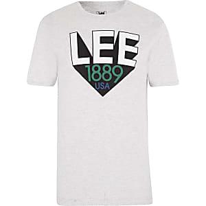 Lee grey logo print T-shirt