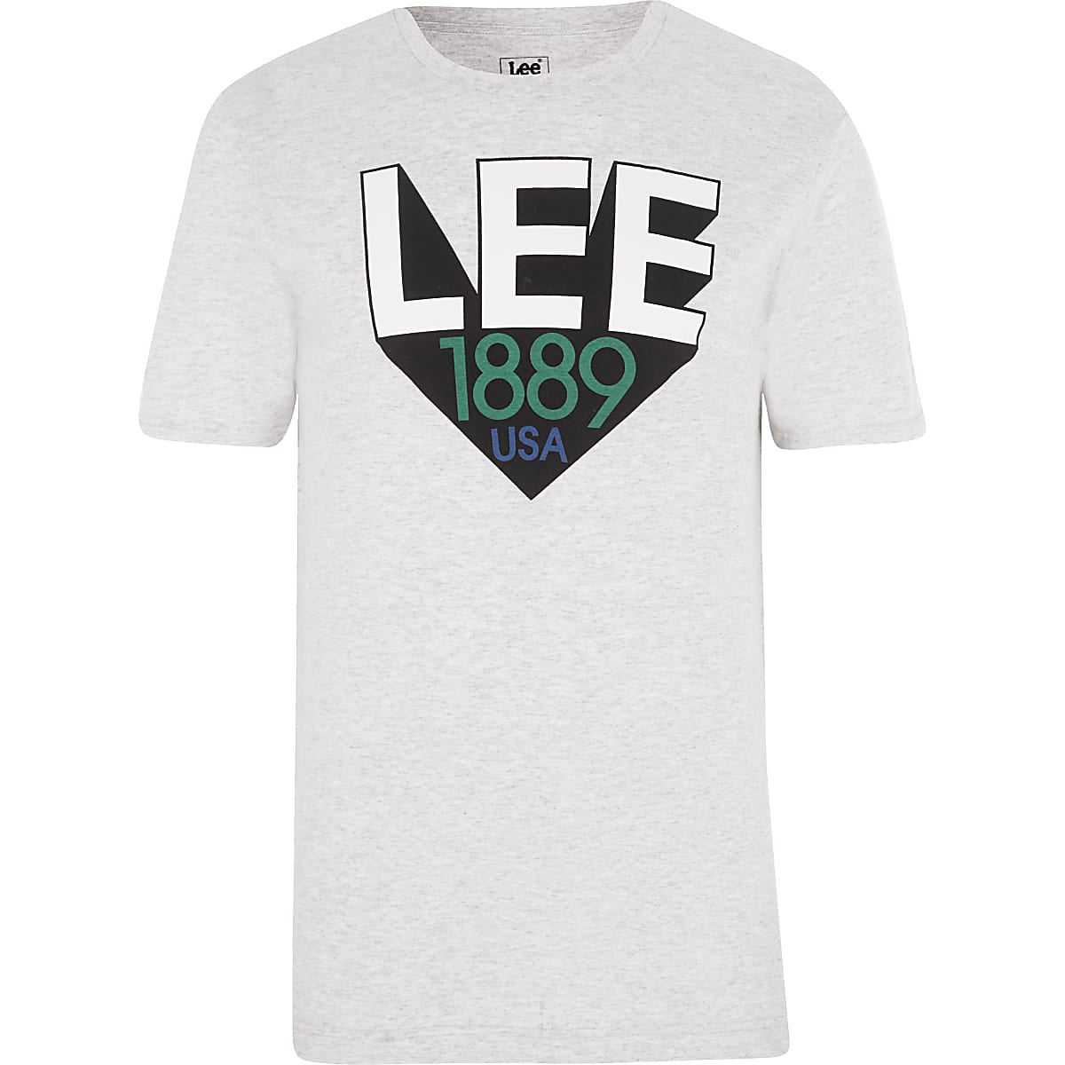 Lee grey logo print T-shirt