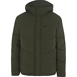 Lee green hooded puffer jacket