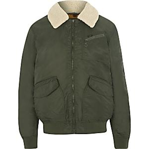 Lee khaki green fleece collar coach jacket