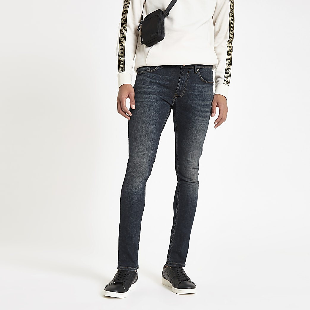 Danny - Donkerblauwe superskinny jeans