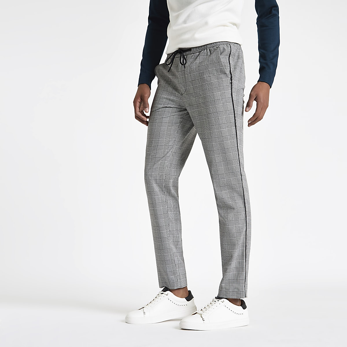 Grey check tape side skinny joggers