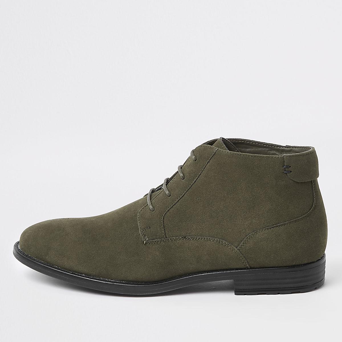 Dark green eyelet desert boots