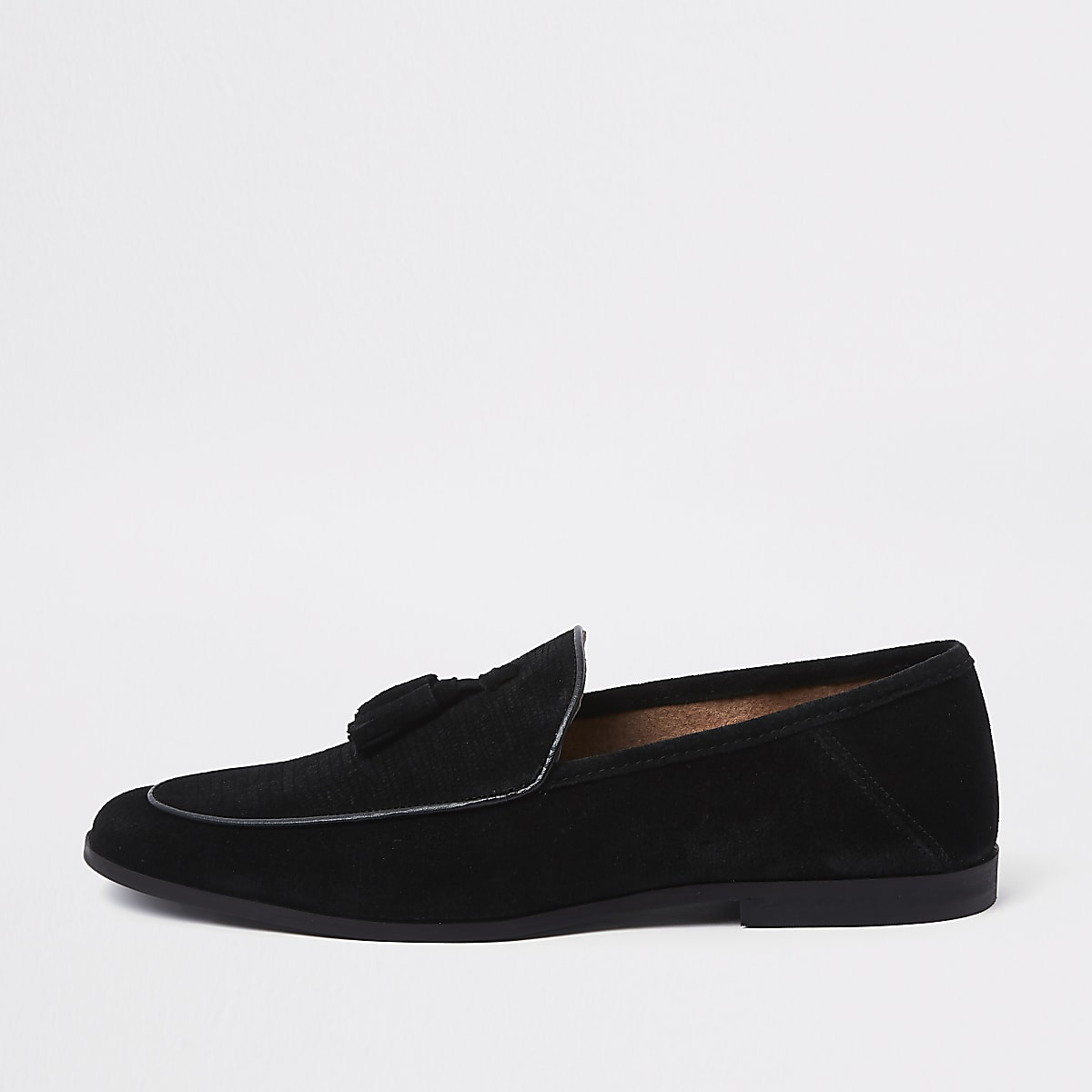 Black textured suede tassel loafer