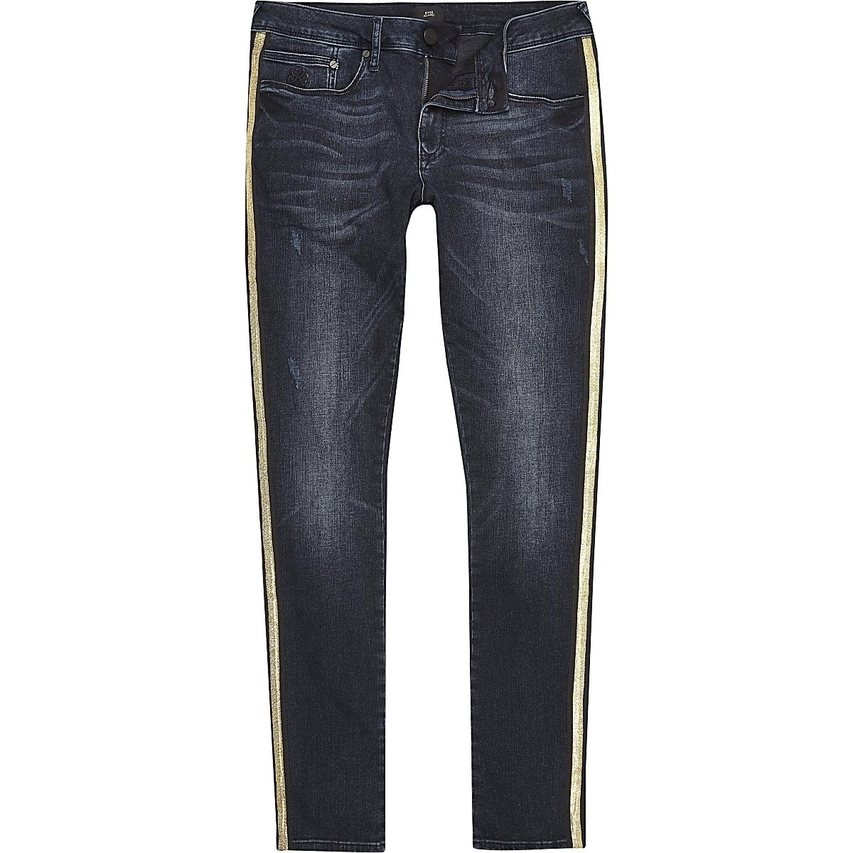 Big and Tall – Jean ultra skinny bleu à bandes latérales