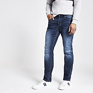 Mid blue Dylan slim fit ripped jeans