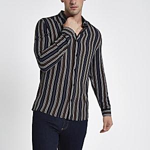 Black aztec stripe print long sleeve shirt