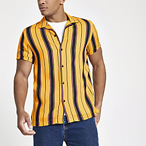 Yellow stripe short sleeve revere shirt
