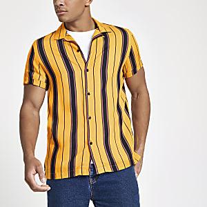 Yellow stripe short sleeve revere shirt
