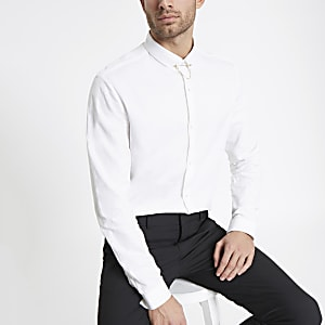 White jacquard slim fit collar chain shirt