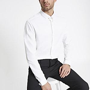 Chemise slim en jacquard blanc à chaîne à l'encolure