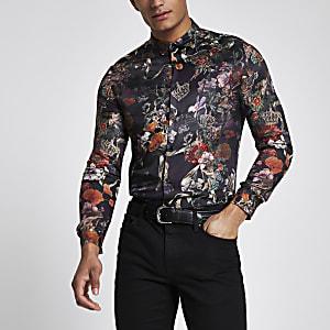 Chemise à fleurs noire boutonnée