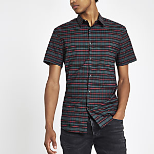 Green check embroidered short sleeve shirt