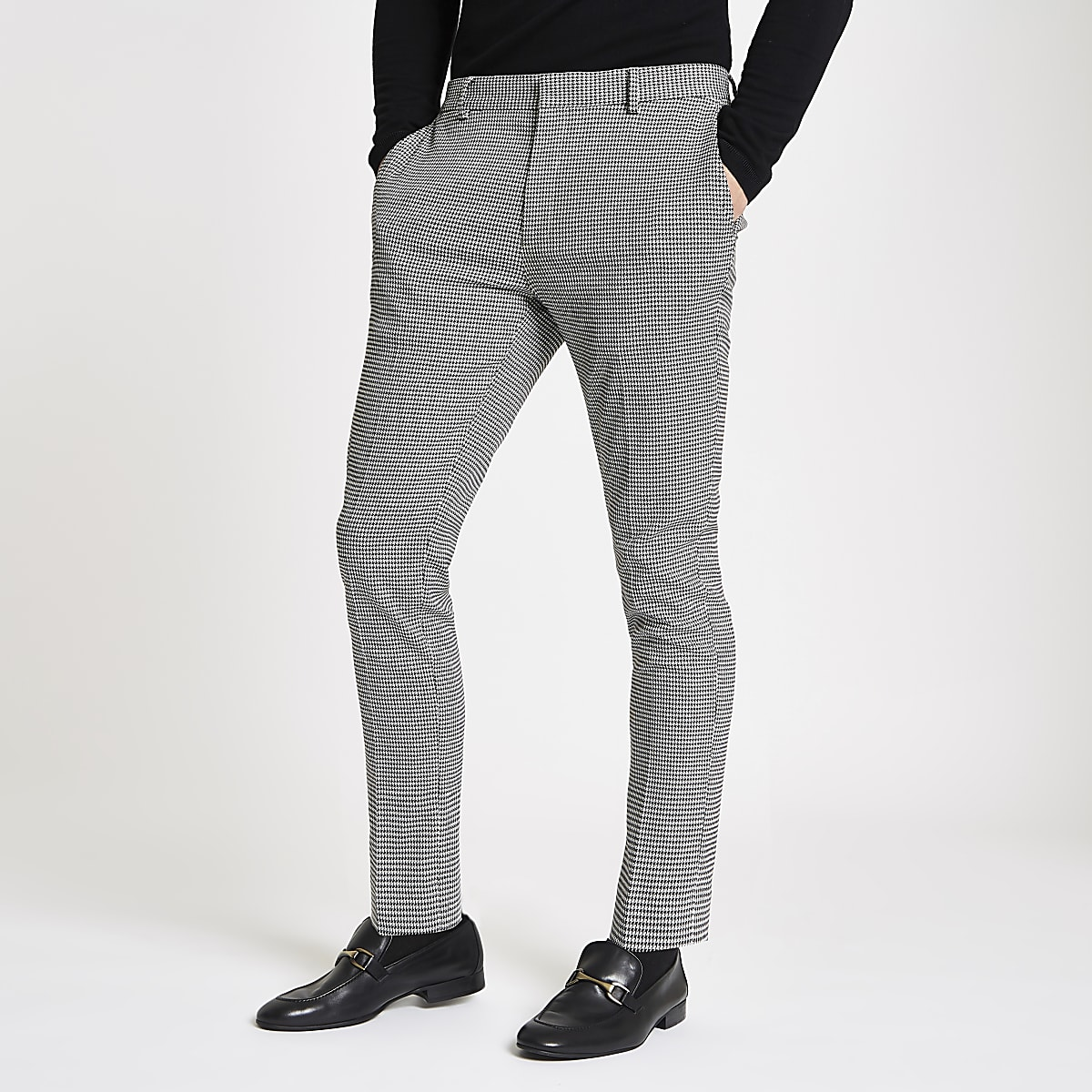 Grey check super skinny trousers