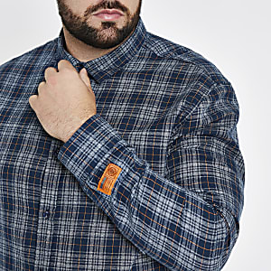 Only & Sons Big and Tall navy check shirt