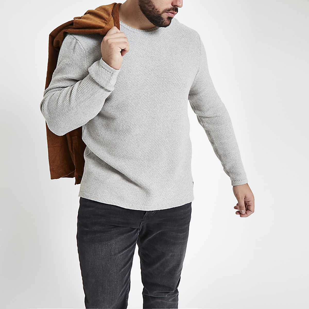 Only & Sons Big & Tall grey crew neck jumper