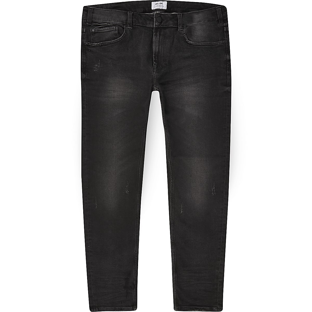 Only & Sons – Big & Tall – Schwarze Skinny Jeans