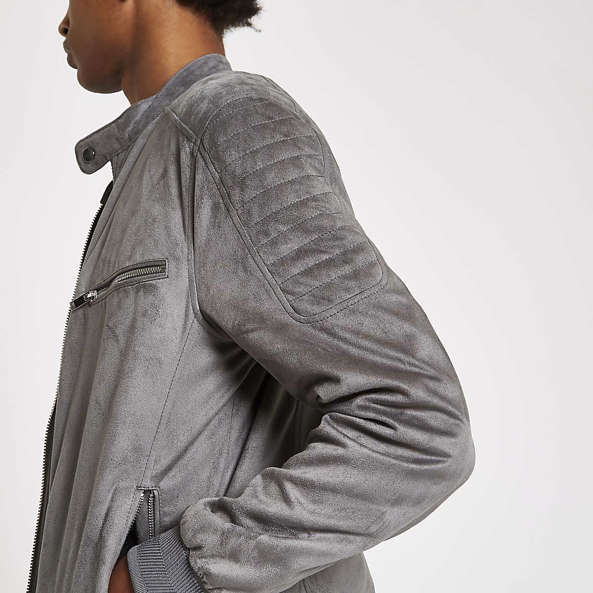 Grey faux suede racer jacket