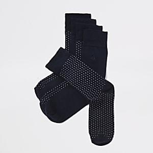 5 paar marineblauwe sokken met verschillende prints