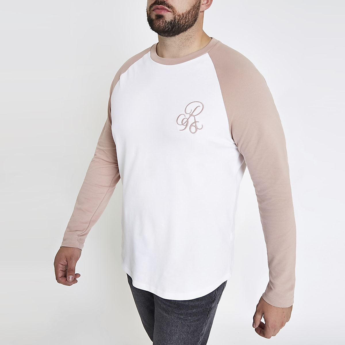 Big and Tall – T-shirt ajusté blanc à manches raglan