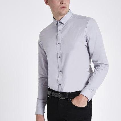 Light grey button-down long sleeve shirt