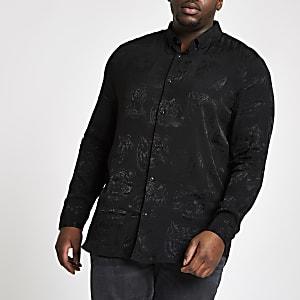 Big and Tall – Chemise à imprimé tigre noire