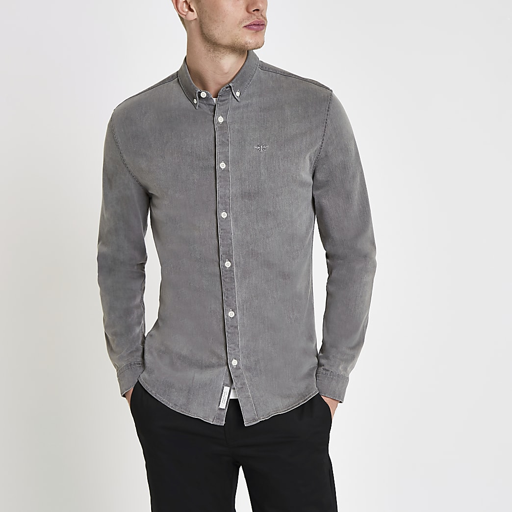Grey muscle fit denim wasp embroidered shirt
