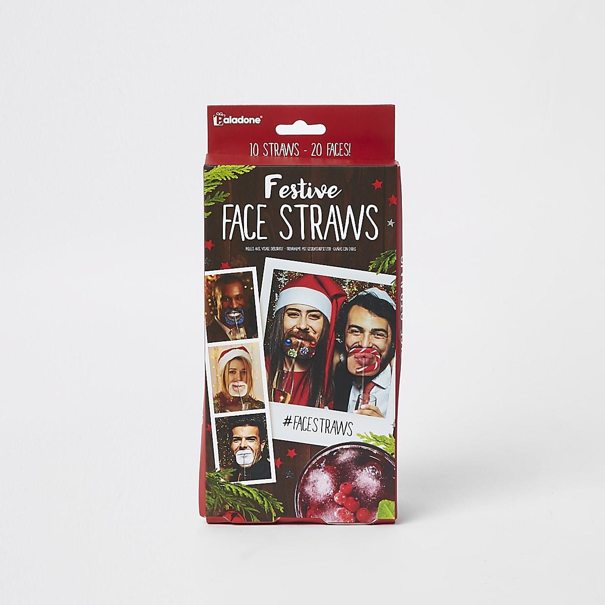 Pailles de Noël à visage festif