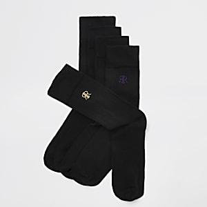 5 paar zwarte geborduurde sokken met RI-logo