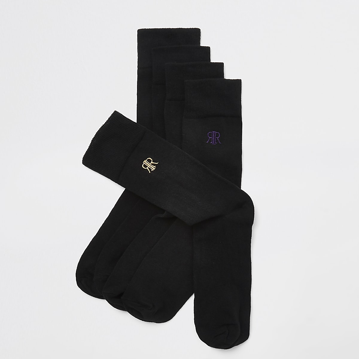 Black RI embroidered socks 5 pack