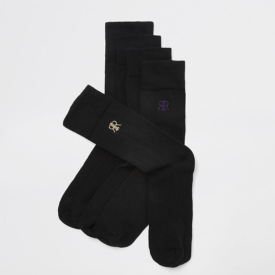 Black RI embroidered socks 5 pack