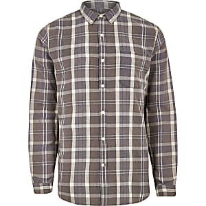 Brown check button-down long sleeve shirt