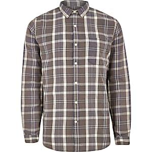 Bruin geruit overhemd met knopen en lange mouwen