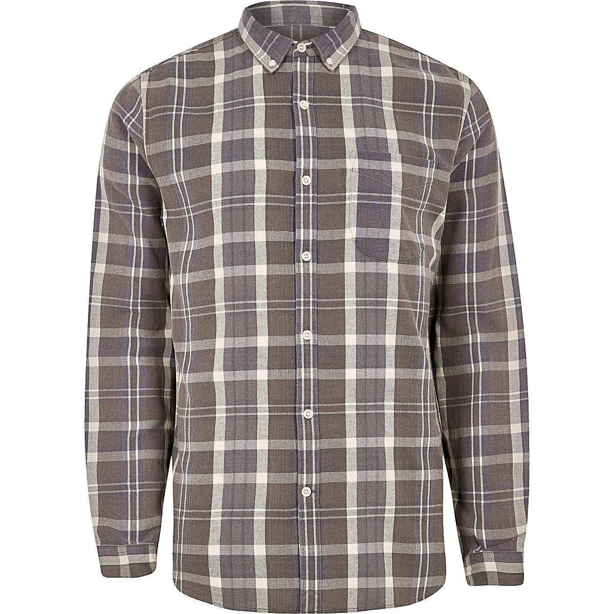 Brown check button-down long sleeve shirt