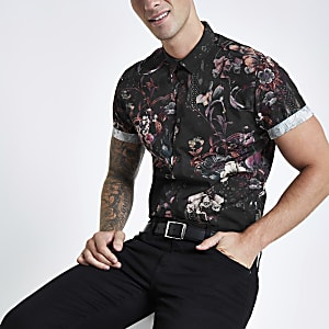 Black floral print slim fit shirt