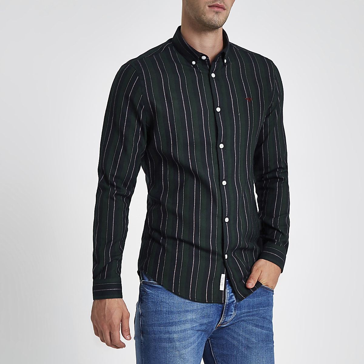 Dark green mixed stripe slim fit shirt