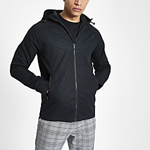 Jack & Jones black lightweight hooded jacket