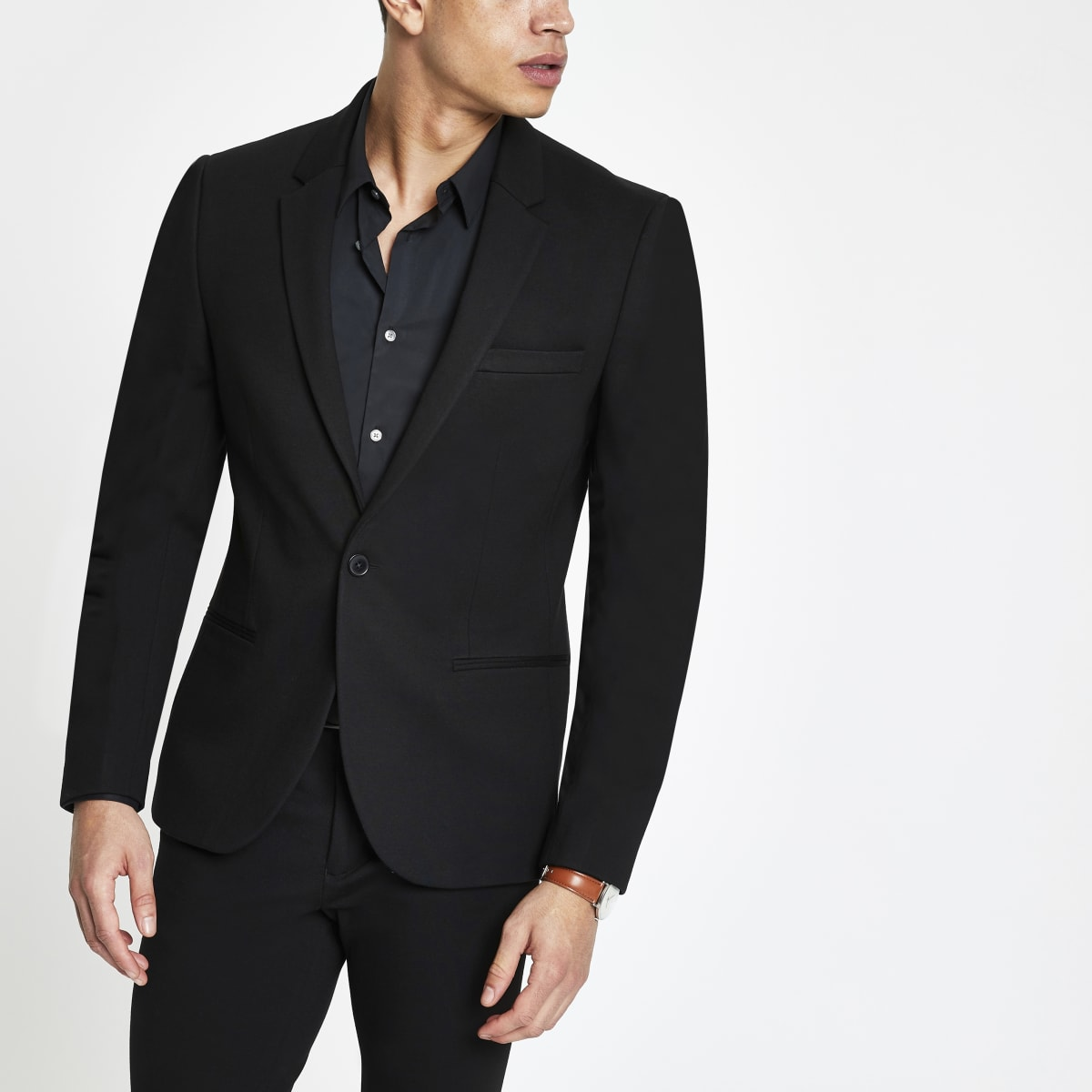 Black super skinny fit suit jacket