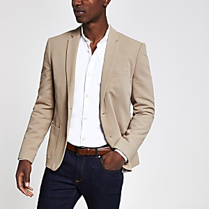 Camelkleurige skinny-fit blazer