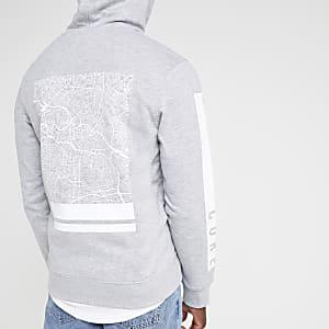 Jack & Jones ‒ Sweat gris imprimé dans le dos à capuche