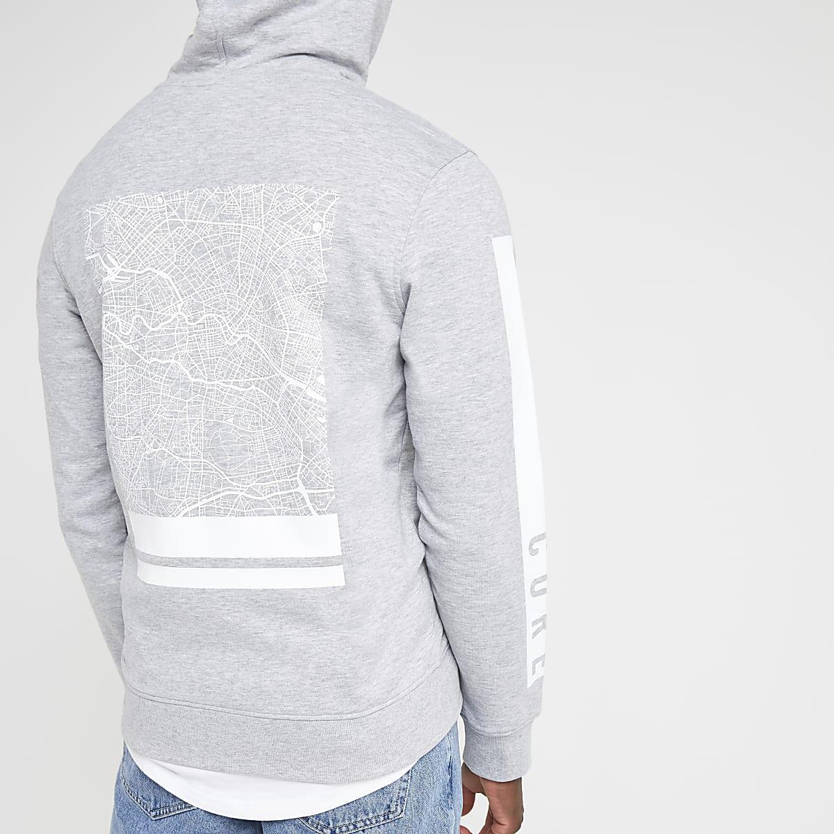 Jack and Jones grey back print hoodie