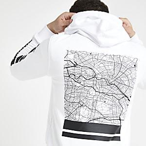 Jack & Jones ‒ Sweat blanc imprimé dans le dos à capuche