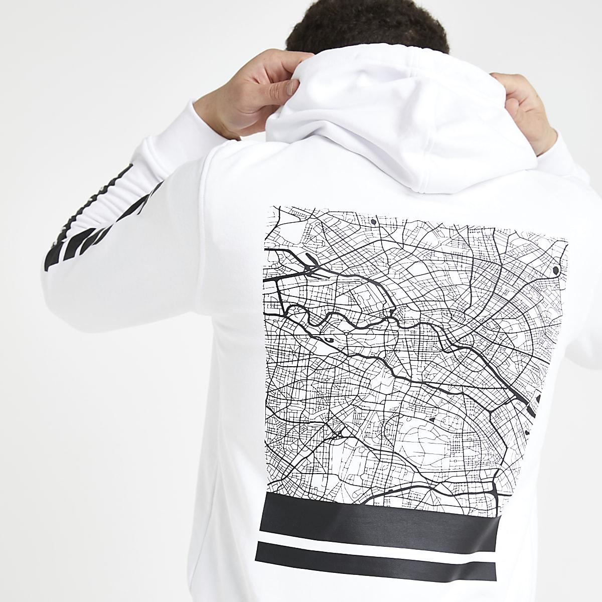 Jack and Jones white back print hoodie