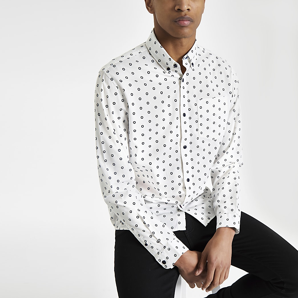 Jack & Jones white print long sleeve shirt
