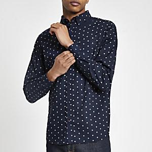 Jack & Jones - Marineblauw overhemd met stippen