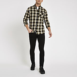 Jack & Jones yellow check long sleeve shirt